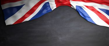 Great Britain flag placed on blackboard background with copyspace. 3d illustration. UK flag placed on chalkboard background with copyspace, 3d illustration Royalty Free Stock Photography