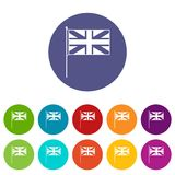 UK flag set icons. In different colors isolated on white background Stock Photos