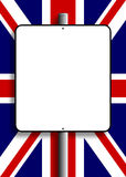 UK Flag Sign Post. Sign post with copy space over the United Kingdom Flag Stock Images