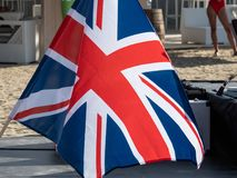 UK flag. On a stage in Therme Balotesti in Romania stock photos