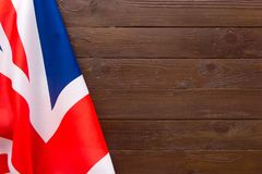 UK flag on wooden background.The place to advertise, template. UK flag on wooden background.The place to advertise, template Royalty Free Stock Photos