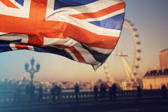 UK flaga i Londyński oko Fotografia Stock