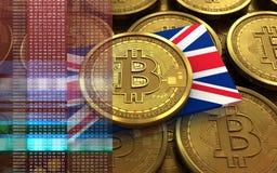 UK-flagga för bitcoin 3d Royaltyfri Bild