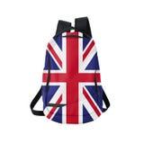 UK-flaggaryggsäck som isoleras på vit Royaltyfri Foto