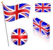 UK-flaggauppsättning Arkivbilder