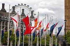 UK-flaggor av utländska territorier och kronaberoenden arkivfoton