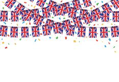UK flags garland white background with confetti. Hang bunting for United Kingdom Day celebration template banner, Vector illustration Royalty Free Stock Photography