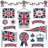 Uk flags and ribbons. Set of red and blue uk flags, ribbons and crowns, isolated on white Royalty Free Stock Photography