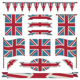 Uk flags and ribbons Royalty Free Stock Image