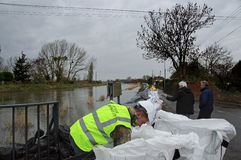 2014 UK Floods Burrowbridge. UK Burrowbridge -- 31 Jan 2014 -- Residents of the village of Burrowbridge on the Somerset Levels - which has suffered floods in the Stock Image