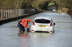 UK 2014 Floods. UK Felmersham -- 09 Feb 2014 -- A mechanic from CMG Rescue Services wades over to begin the rescue of a Ford car stranded in the floodwaters of Royalty Free Stock Photo
