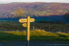 UK footpath finger post catching sun Royalty Free Stock Photography
