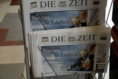 UK_FRANCE_USA FUTURE LEADERS. Copenhagen / Denmark. 30 June 2016_  German Die Zeit with cover images of Boris Johnson , Marie la France, and Donalds Trump future Royalty Free Stock Photos