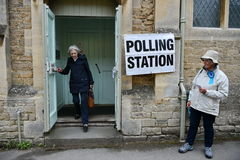 UK General Election. Chippenham, UK - June 8, 2017: Members of the public caste their votes at a polling station located in a village church. Polling stations Stock Image
