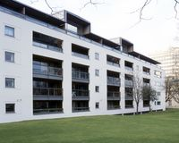 Cheltenham apartment block. UK, Gloucestershire, Cheltenham, modern style apartment block royalty free stock images