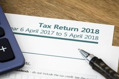 Tax return form UK 2018. UK HMRC self assessment income tax return form 2018 Stock Photos