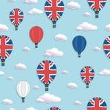 Uk hot air balloon pattern Stock Images