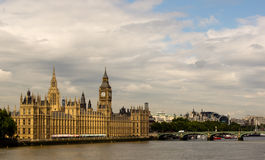 Uk Houses of Parliament. The British Houses of Parliament from the Thames Perspective Stock Images