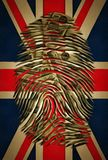 UK ID. Fingerprint with dollar pattern on a Great Britain flag Royalty Free Stock Image