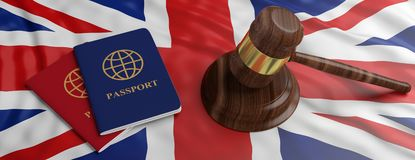 Two passports and a judge gavel on United kingdom flag background. 3d illustration stock image