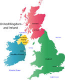 UK and Ireland map. Designed in illustration with the regions on the continent colored in bright colors and the main cities