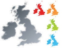 UK Ireland modern halftone design element. Vector illustration of a modern halftone design element in the shape of the United Kingdom and Ireland country Stock Images