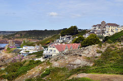 UK, Jersey Island. Great Britain, Jersey Island, coast and homes in St. Brelade stock image