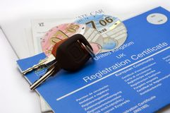UK keys and car documents. A set of keys and paperwork for a new car in the UK Stock Photo
