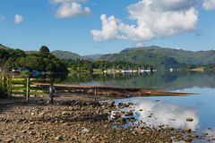 UK Lake District Ullswater Cumbria mountains blue sky white clouds Royalty Free Stock Photos