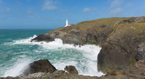 UK lighthouse Trevose Head North Cornwall coastline between Newquay and Padstow Royalty Free Stock Image