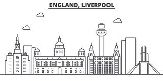 Uk. Liverpool architecture line skyline illustration. Linear vector cityscape with famous landmarks, city sights, design. Icons. Editable strokes vector illustration