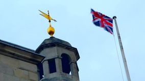 UK, London, flag, trevel. UK, London, flag on the sky background, airplane stock video