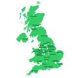 UK map. With main towns and cities Royalty Free Stock Photography