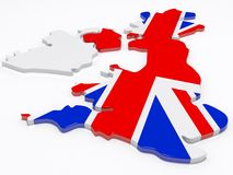 UK Map. The british isles covered in the union jack flag vector illustration