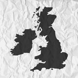 UK map in black on a background crumpled paper vector illustration