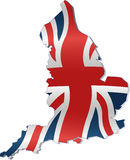 UK Map with British Flag. British Flag within the country borders Stock Photos