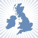 UK map with circular stripes Royalty Free Stock Images