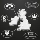UK Map 3D. Elements of infographics on economic data Royalty Free Stock Photos