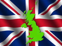 UK map on flag Royalty Free Stock Image