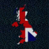 UK map flag on hex code illustration. Retro 8 bit pixellated UK map flag on hex code illustration Stock Photo