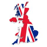UK Map Flag Outline in 3D Royalty Free Stock Photography