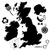 UK map and symbols Royalty Free Stock Photos