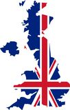 UK map with Union Jack pattern Stock Photo