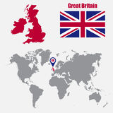 UK map on a world map with flag and map pointer. Vector illustration Royalty Free Stock Photography