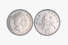 UK metal money, 10 pence royalty free stock photo