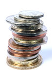 UK Mixed Coin stack. Mixed stack of UK currency. Viewed from a slightly overhead angle Royalty Free Stock Images