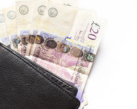 UK money. British 20 pounds bills and wallet Stock Image