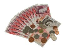 UK money british pounds. UK sterling money pounds on the table Royalty Free Stock Photography