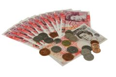UK money british pounds. UK sterling money pounds on the table Royalty Free Stock Images