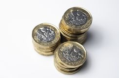 UK money, stack of pound coins royalty free stock photo